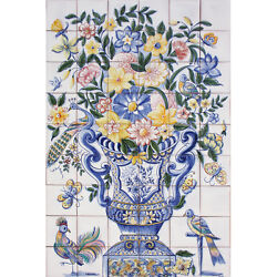 Portuguese Traditional Clay Azulejos Tiles Panel Mural COLOR FRENCH FLOWERS VASE
