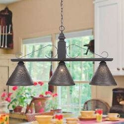 Wood And Wrought Iron Bar Light Rustic Country Island Kitchen Punched Tin Shades
