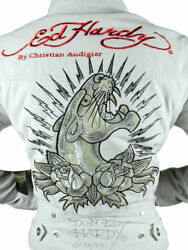 New Ed Hardy Christian Audigier Womenand039s Premium Jacket Panther Taupe Size Small