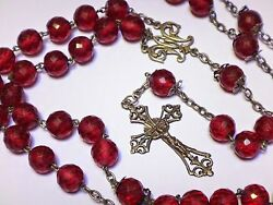 Antique Huge And Heavy 24 French Sterling Silver And Pink Crystal Beads Rosary
