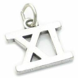 Roman Numeral Number 11 Sterling Silver Charm .925 X1 Xi Numerals Charms