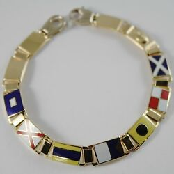 Massive Solid 18k Yellow Gold Bracelet With Glazed Nautical Flags, Made In Italy