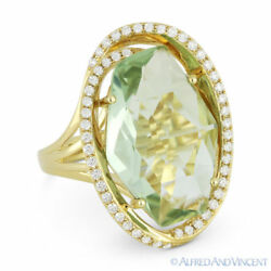 8.86ct Fancy Checkerboard Green Amethyst And Diamond 14k Yellow Gold Cocktail Ring