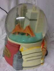 Vtg Electric Musical Celebrating Milennium Snow Globe Dome New York Twin Towers