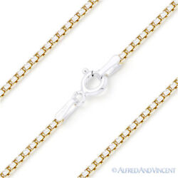 .925 Italy Sterling Silver And 14k Yg Round Box 1.5mm Link Italian Chain Necklace