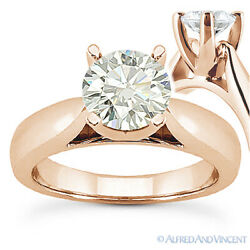 Round Cut Moissanite 14k Rose Gold Cathedral Setting Solitaire Engagement Ring