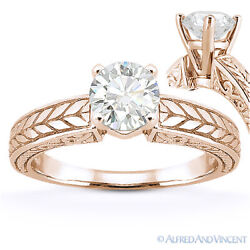Round Cut Moissanite Antique-style Solitaire Engagement Ring In 14k Rose Gold