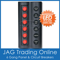 6 Gang Red Round Led Rocker Switch Panel And Circuit Breakers -boat/caravan/marine