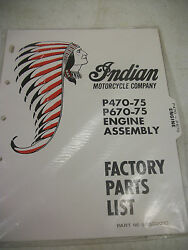 Nos Indian Motorcycle P470-75 And P670-75 Engine Assy Factory Parts List