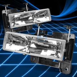 CLEAR CRYSTAL LENS CHROME HOUSING HEADLIGHT LAMP SET FOR 88 98 GMC C1500 K3500 $41.88