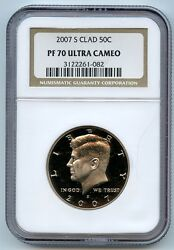 Kennedy Half Clad 2007 S Pf70 Ultra Cameo Ngc 50 Cent Proof Graded Coin