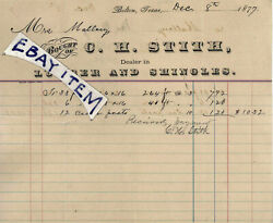 1877 Ch Stith Of Cameron Texas Confederate Veteran Coopers Battery Belton Lumber