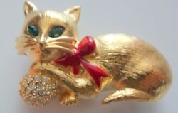 Vintage Signed Napier Gold Tone Emerald Green Clear Rhinestone Cat Pin Brooch