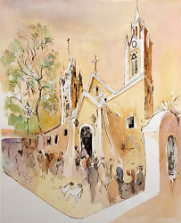 William Papas Cathedral Albuquerque New Mexico Signed Hand Colored Art Etching