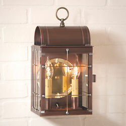 Dual Candle Antique Copper Outdoor Primitive Wall Light Classic Colonial Lantern