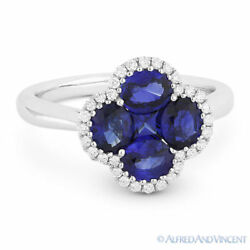1.96 Ct Sapphire And Diamond 18k White Gold Right-hand Flower Charm Cocktail Ring