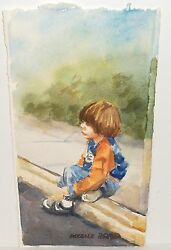 Lucelle Raad Waiting For Daddy Original Watercolor Painting