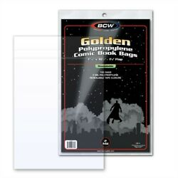 100 Bcw Resealable Golden Age Comic Book Poly Bags + Acid Free Backer Boards
