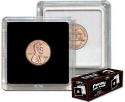 Case Of 500 Bcw Hard Plastic 2x2 Coin Snaps Penny Size Protector Holder Display