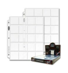 400 Bcw Pro 20-pocket Coin Album Pages Clear Binder Sheets For 2x2 Paper Flips