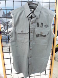 Nos Harley Davidson Menand039s Small Blowout Woven Grey Vest Shirt 99062-13vm/000s