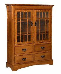 Amish Mission Arts Crafts Bookcase Glass Doors Drawers Solid Wood 46x 60