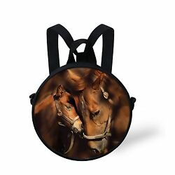 Small Brown Horse Circle Round Zipper Cross-Body Bag Shoulders Backpack For Kids