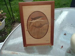 Hudson River Inlay Pair Of Porpoises By Jeff Nelson Wood Marquetry Art 10x7