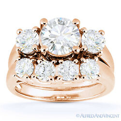 Forever Classic Moissanite Engagement And Wedding Ring Bridal Set In 14k Rose Gold