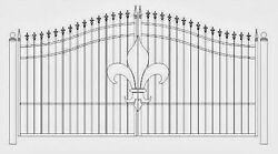 Custom Built Driveway Entry Gate 12 Ft Wide Single. Fencing Iron Residential