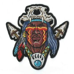 Indian Warrior Brave Skull Spears Iron On Sew On Embroidered Patch 3.7x 4