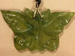 Beautiful Butterfly Antique Jade Oriental Necklace Pendant Charm Vintage Jewelry