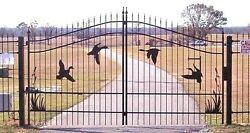 Custom Built Driveway Entry Gate 12ft Wd Ss Fence, Handrails, Yard. Residential