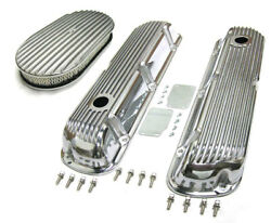 Sbf Ford 289 302 Finned Retro Aluminum Valve Covers And 15 X 2 Air Cleaner Kit
