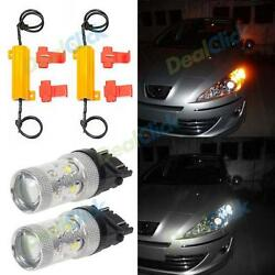 2X 3157 Cree 60W Switchback Amber White Front Turn Signal Light Led 4057 3156