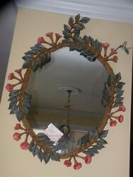 Carvers' Guild 1170 Hummingbird And Trumpet Vine Hand Painted Mirror New