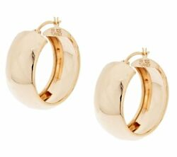 Qvc Polished Wedding Band Hoop Earrings 14k Yellow Rose Gold Clad 925 Silver