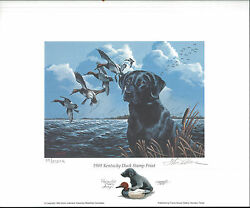 Kentucky 5 1989 State Duck Stamp Print Black Lab By Philip Crowe Color Remark