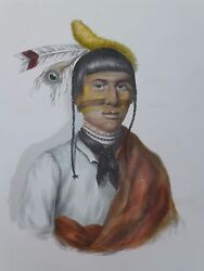 NO-TIN  Chippewa Chief. McKenney & Hall Hand-colored Lithograph 1800's