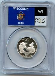 2004 S Wisconsin State Silver Quarter Pcgs Pr69 Dcam Proof 25 Cent Coin C20