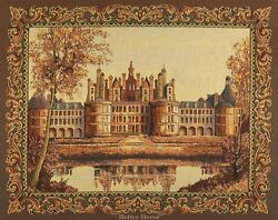 WALL TAPESTRY French Chambord Castle EUROPEAN GOLDEN DECOR MEDIEVAL PICTURE