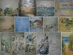 Lot Old 15 Signed Painting S Israel Views Art Watercolor S Jewish Judaica Modern