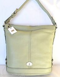 New Fossil Maddox Bucket Light Sage Leather Totehand+shoulder Bagpurse