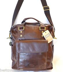 NEW FOSSIL BROWN LEATHER TRANSIT VERTICAL WK BRIEFCASECROSSBODY+MESSENGER BAG