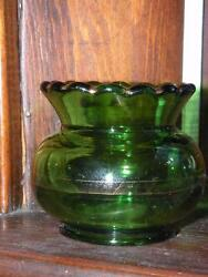 Vintage Eapg Factory A Blossom Ward's Regal Green Gold Glass Toothpick Holder