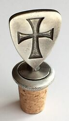 Masonic Knights Templar Shield Hand Crafted Pewter Bottle Stopper Wine Saver