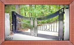 Residential And Commercial Ornamental Iron Driveway Entry Gate 14 Ft Wd Dual Swing