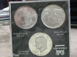 Trio Of Silver Dollars -in Plastic Case -free Shipping