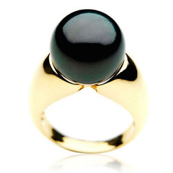 14mm Pacific Pearls® Genuine Tahitian Black Pearl Ring Gold Gifts For Girlfriend