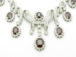 14k White Gold & Diamond Red Ruby Chandelier Vintage Design Tennis Necklace Gift
